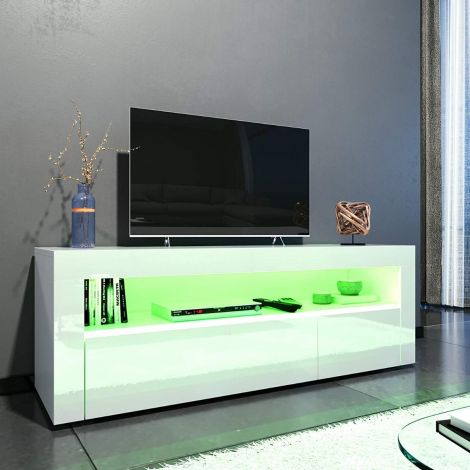 Elegant 1200Mm Gloss Black Modern Multi Colour Led Tv Unit With Well Liked 57'' Led Tv Stands Cabinet (View 7 of 15)