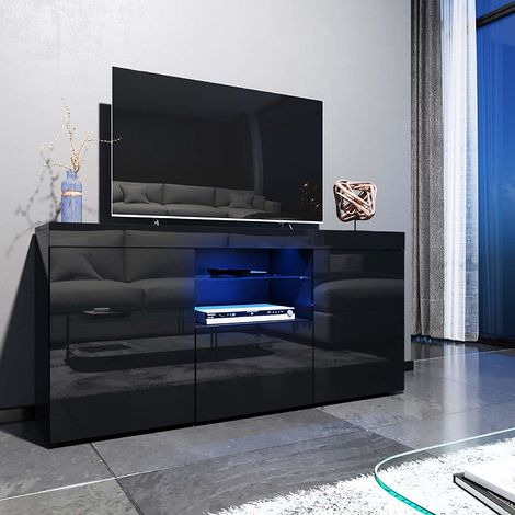 Elegant 1350Mm Modern Black Gloss Tv Unit Stand With Led For Well Known 57'' Led Tv Stands Cabinet (View 1 of 15)
