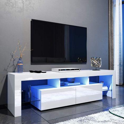 Elegant 1600Mm Gloss White Modern Multi Colour Led Tv Unit Intended For Current Modern White Gloss Tv Stands (View 2 of 15)