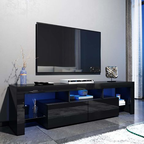 Elegant 1600Mm Modern Black Gloss Tv Unit Stand With Led With Well Known Led Tv Cabinets (View 3 of 15)