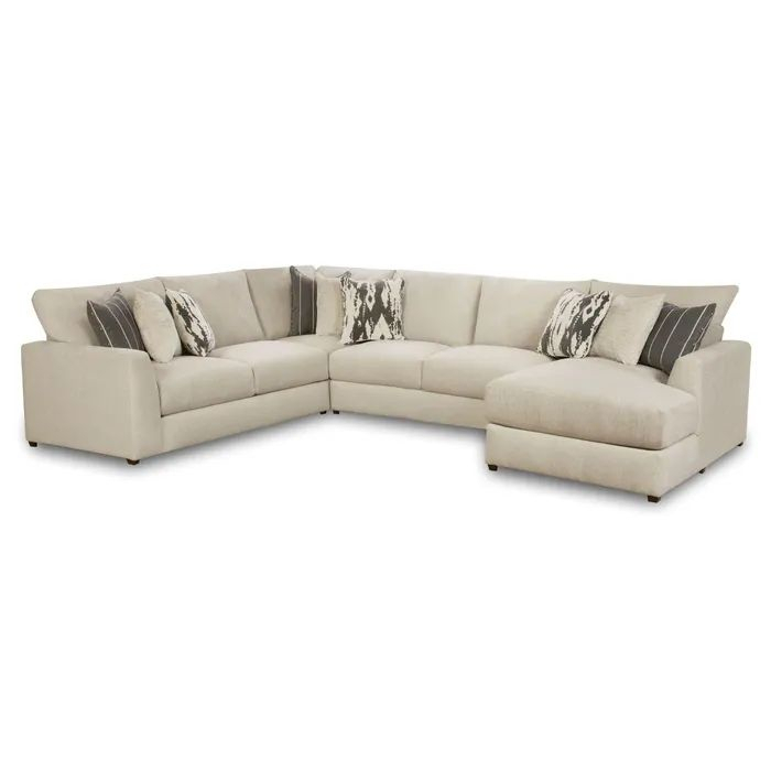 Emperor Ivory Chenille 4 Piece Right Facing Chaise Regarding Benton 4 Piece Sectionals (View 14 of 15)