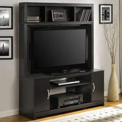 Entertainment Center Tv Stand Black Wood Flat Screen Intended For 2017 Dark Wood Tv Stands (View 8 of 15)