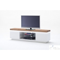 Eris I Tv Stand With Natural Oak Top And Led Lights – Tv Intended For Famous Bergen Tv Stands (View 7 of 15)