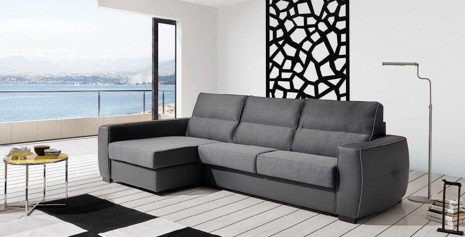 Esf Ray Grey Fabric Sectional Sleeper Sofa/Storage Modern Throughout Sectional Sofas With Storage (View 4 of 15)