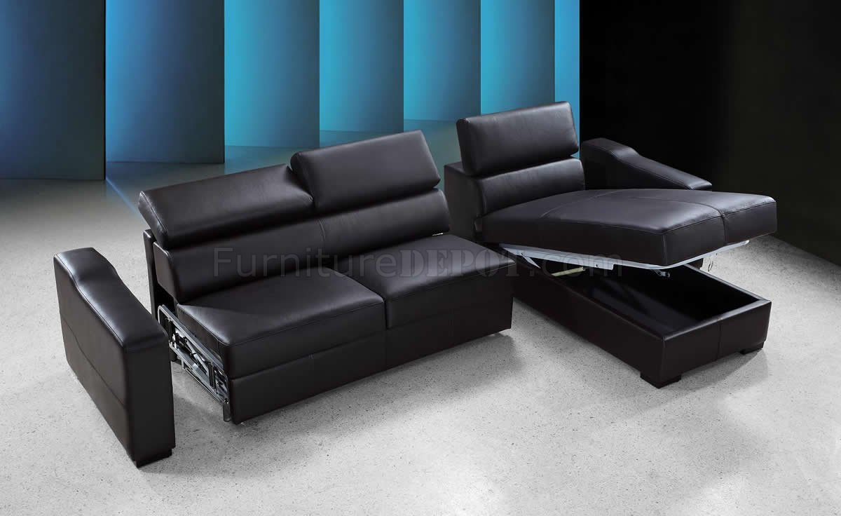 Espresso Leather Modern Sectional Sofa Bed W/Storage For Palisades Reversible Small Space Sectional Sofas With Storage (View 14 of 15)