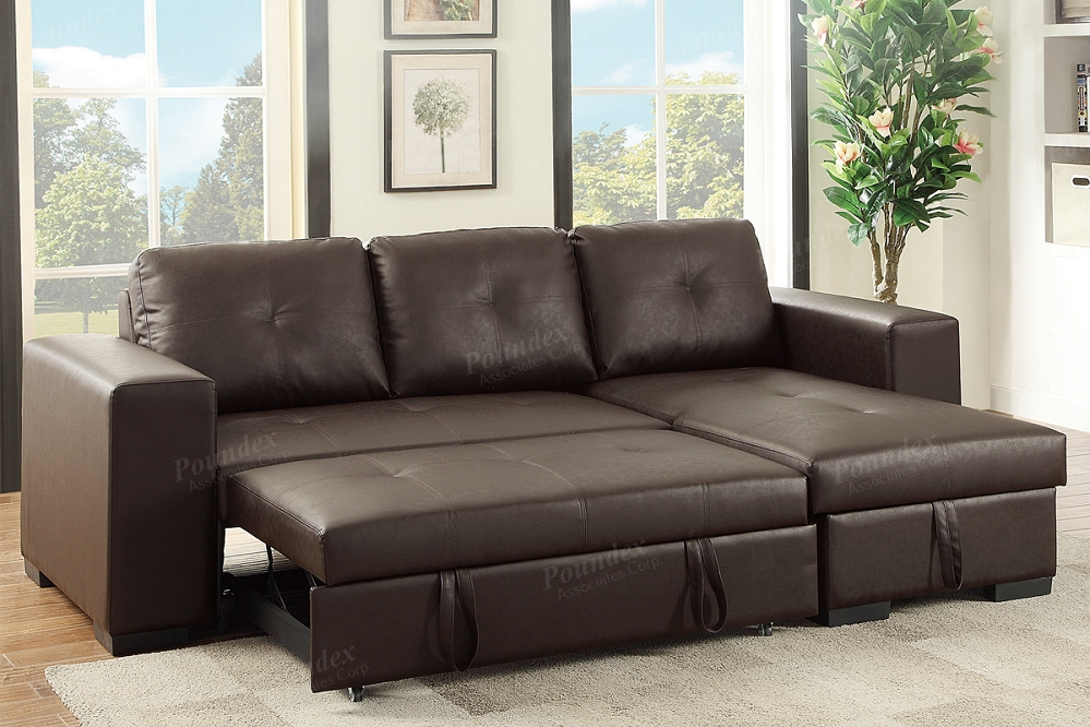 Espresso Pu Convertible Sectional Storage Sofa Bed Pertaining To Hartford Storage Sectional Futon Sofas (View 13 of 15)