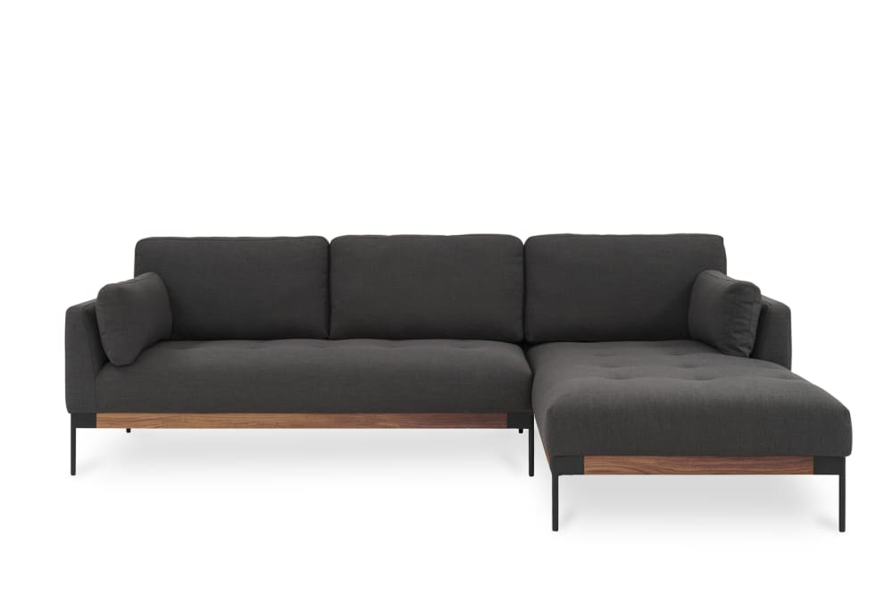 Ethan Chaise Sectional Sofa, Right Facing, Stone Grey Pertaining To Dulce Right Sectional Sofas Twill Stone (View 8 of 15)