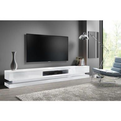 Evoque Large White High Gloss Tv Unit Stand With Led Inside 2017 Zimtown Tv Stands With High Gloss Led Lights (View 7 of 15)