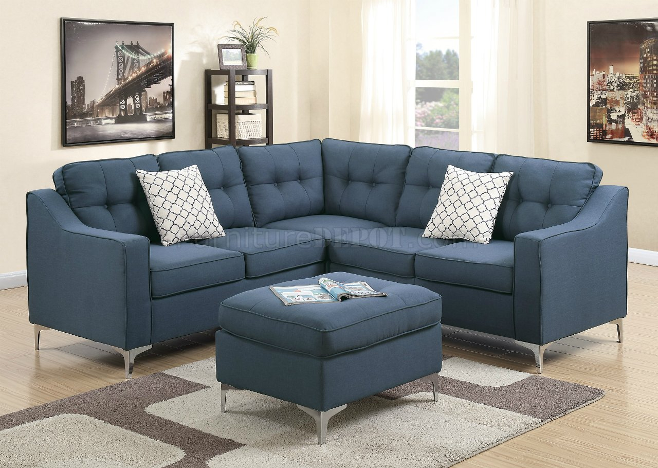 F6999 Sectional Sofa In Navy Fabric W/ Ottomanboss Inside Sectional Sofas (View 7 of 15)