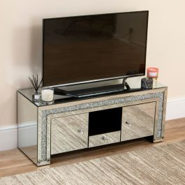Famous Fitzgerald Mirrored Tv Stands Intended For Mirrored Crushed Diamond Curved Edge Tv Stand Abreo Home (View 7 of 15)