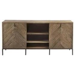 Famous Media Console Cabinet Tv Stands With Hidden Storage Herringbone Pattern Wood Metal Throughout Ashley Rustic Lodge Brown Herringbone Pattern Wood Media (View 1 of 15)