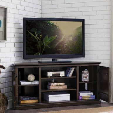 Famous Rustic Corner Tv Stands In Rent To Own Hunt Club Rustic Oak Wood 55 Inch Corner Tv (View 10 of 15)