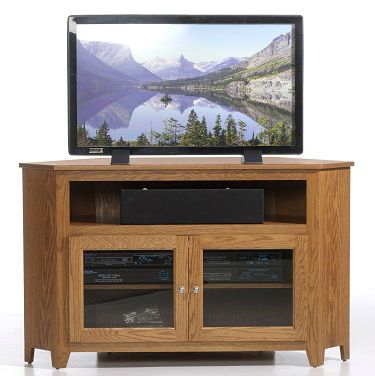 Famous Rustic Red Tv Stands In 1165 Amish Oak Corner Tv Stand With Glass Doors, Yt (View 1 of 15)