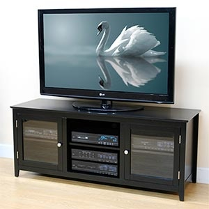 """Famous Tv Cabinets With Glass Doors Pertaining To Costco 60"""" Black Media Console (View 12 of 15)"""