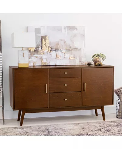 """Famous Walker Edison Contemporary Tall Tv Stands For Walker Edison 60"""" Mid Century Modern Wood Tv Console (View 8 of 15)"""