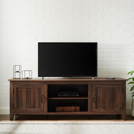 Famous Walnut Tv Cabinets With Doors With Modern Farmhouse Tv Stand With 2 Doors For Tv'S Up To  (View 1 of 15)