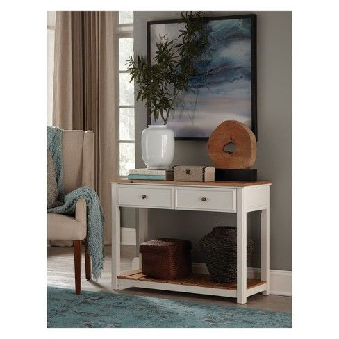 """Fashionable Compton Ivory Corner Tv Stands In Savannah 40"""" W 2 Drawer Console Table Ivory With Natural (View 13 of 15)"""