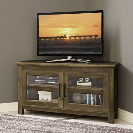 """Fashionable Corner Tv Cabinets With Glass Doors In 44"""" Wood Corner Tv Media Stand Storage Console – Barnwood (View 1 of 15)"""