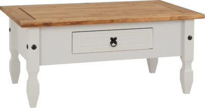 Fashionable Corona Tv Stands Pertaining To Corona 1 Drawer Coffee Table – Grey/Distressed Waxed Pine (View 11 of 15)