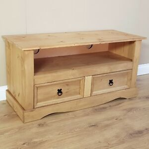 Fashionable Corona Tv Stands With Regard To Corona Tv Unit Flat Screen Wide Stand 2 Drawer Solid Pine (View 5 of 15)