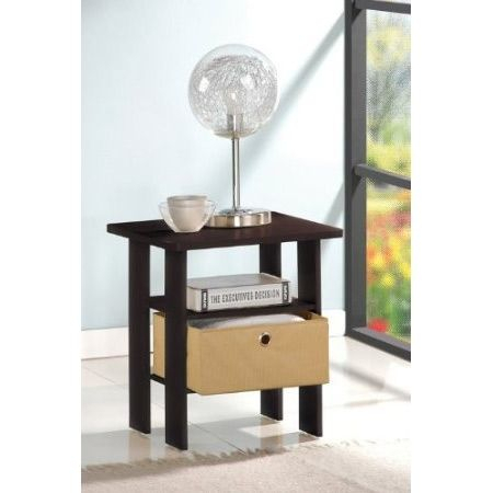 Fashionable Furinno Jaya Large Tv Stands With Storage Bin Regarding Espresso End Table Nightstand For Bedroom Or Living Room (View 11 of 15)