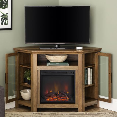 """Fashionable Rustic Tv Stands For Manor Park 48"""" Wood Corner Fireplace Media Tv Stand (View 12 of 15)"""