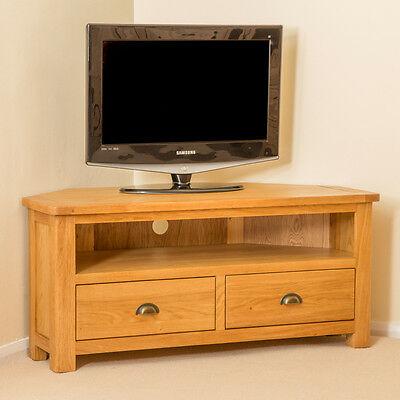 Fashionable Samira Corner Tv Unit Stands Within Roseland Oak Corner Tv Cabinet Stand Large Solid Wooden (View 4 of 15)