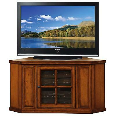 Fashionable Single Shelf Tv Stands Pertaining To Wood Oak Corner Tv Stand 46In Cabinet Glass Door (View 10 of 15)