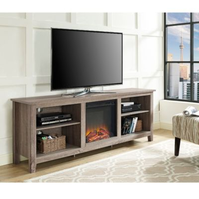 """Fashionable Walker Edison Wood Tv Media Storage Stands In Black With 70"""" Rustic Farmhouse Electric Fireplace Wood Media Tv (View 3 of 15)"""