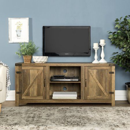 """Fashionable Woven Paths Farmhouse Barn Door Tv Stands In Multiple Finishes Intended For 58"""" Barn Door Tv Stand With Side Doors For Tvs Up To  (View 2 of 14)"""