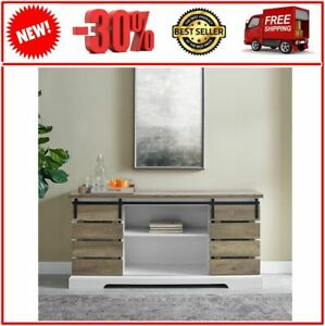 Fashionable Woven Paths Farmhouse Barn Door Tv Stands In Multiple Finishes Regarding Woven Paths Farmhouse Sliding Slat Door Tv Stand For Tvs (View 3 of 14)