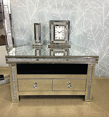 Favorite Fitzgerald Mirrored Tv Stands Within Diamond Glitz Sparkly Silver Mirrored Glass Crystal Corner (View 12 of 15)