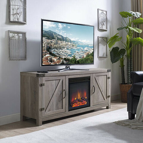 """Favorite Modern Farmhouse Style 58"""" Tv Stands With Sliding Barn Door Inside Tv Stand – Grey Wash 58"""" Barn Door Fireplace Tv Stand (View 11 of 15)"""