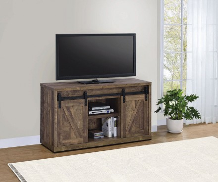 Favorite Rustic White Tv Stands Throughout Rustic Oak 48 Inch Tv Console W/ Sliding Barn Doors (View 3 of 15)