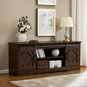 Fitueyes Farmhouse Sliding Barn Door Tv Stand For 70 Inch Regarding Well Liked Tv Stands With Sliding Barn Door Console In Rustic Oak (View 12 of 15)