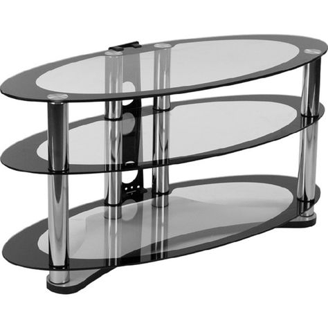 """Flash Westchester 39"""" Tv Stand Two Tone Glass Chrome In Fashionable Chromium Tv Stands (View 8 of 15)"""