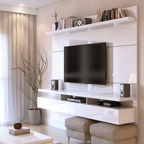 Floating Entertainment Center Wall Tv Mount Stand Theater In Current Milano White Tv Stands With Led Lights (View 12 of 15)