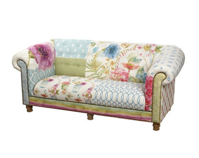 Floral Sofa 2 3 Seater Chesterfield Shabby Chic Country   Etsy Inside Shabby Chic Sofas (View 8 of 15)