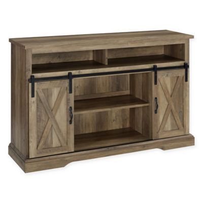 Forest Gate Englewood Barn Door Tv Stand In Rustic Oak Inside Popular Tv Stands With Sliding Barn Door Console In Rustic Oak (View 1 of 15)