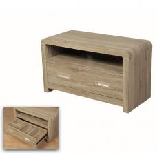 Frame Tv Stand In Oak And White Gloss And Led 23789 Inside Famous Milan Glass Tv Stands (View 4 of 15)