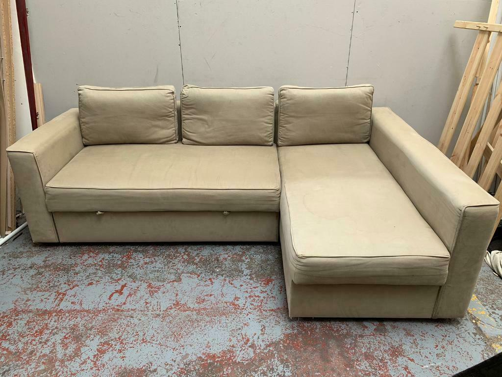Free Delivery Ikea Manstad Beige L Shaped Sofa Bed   In With Manstad Sofas (View 5 of 15)