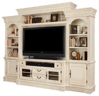 Fremont Antique, Style Burnished White Entertainment Wall Inside Best And Newest Compton Ivory Extra Wide Tv Stands (View 6 of 15)