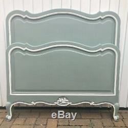 French Wooden Single Bed Frame Annie Sloan Duck Egg Blue With Regard To Newest Lucy Cane Grey Wide Tv Stands (View 5 of 15)