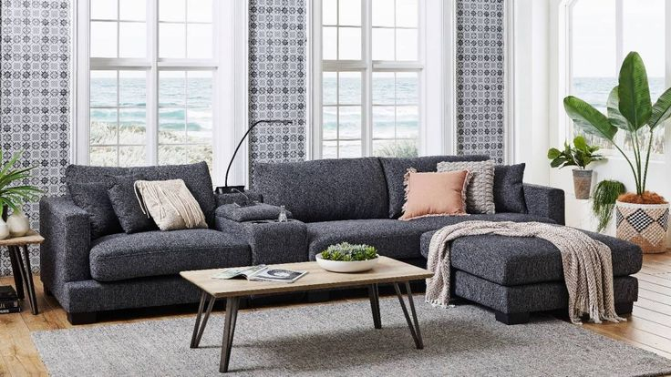 Frontier 3 Seater Fabric Sofa With Console   Fabric Sofa Throughout Harmon Roll Arm Sectional Sofas (View 14 of 15)