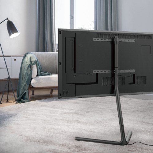 Fs17 46F,Slender V Base Studio Tv Floor Stand – Tv Stands With Best And Newest Modern Black Tv Stands On Wheels (View 13 of 15)