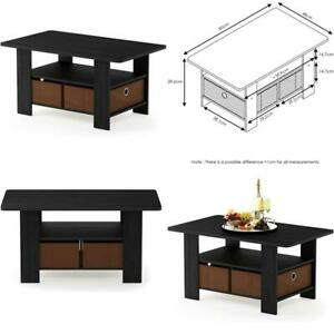 Furinno Andrey Coffee Table With Bin Drawer, Americano Regarding Well Liked Furinno Jaya Large Tv Stands With Storage Bin (View 4 of 15)