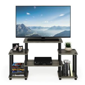 Furinno Turn N Tube French Oak Grey/Black No Tools Intended For Most Popular Tv Stands For Tube Tvs (View 4 of 15)