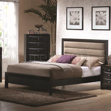 Glossy Black Finish Modern Bed W/Padded Headboard In Newest Modern Black Tv Stands On Wheels With Metal Cart (View 13 of 15)