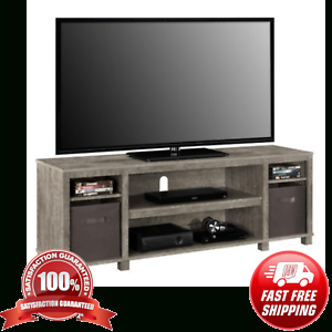 """Gray Tv Stand Console W/ 2 Bins Storage Home Entertainment With Most Up To Date Jowers Tv Stands For Tvs Up To 65"""" (View 5 of 15)"""
