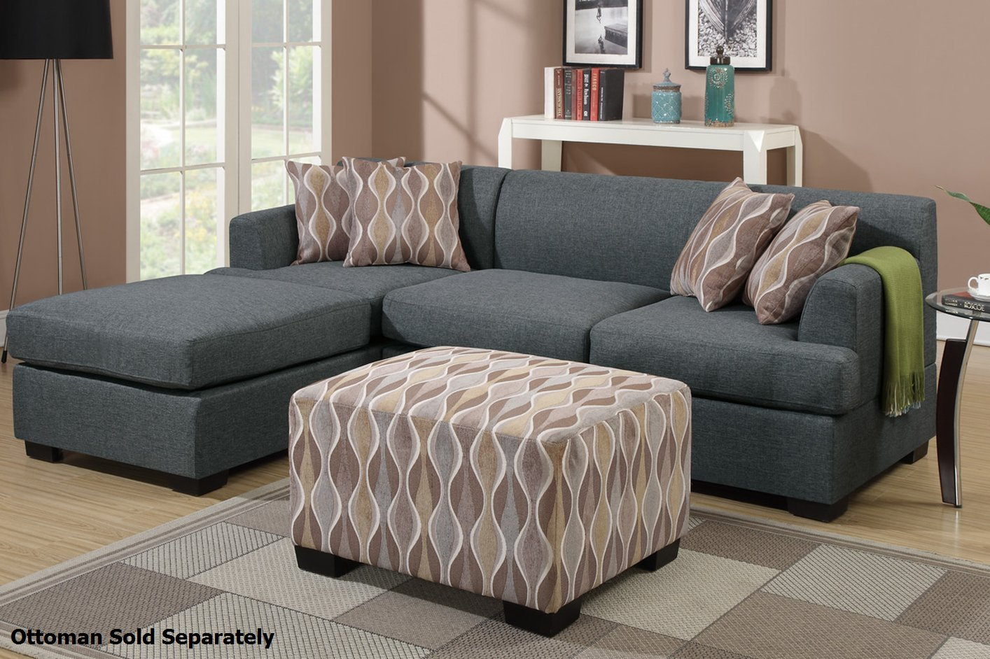 Grey Fabric Sectional Sofa – Steal A Sofa Furniture Outlet Pertaining To Noa Sectional Sofas With Ottoman Gray (View 8 of 15)